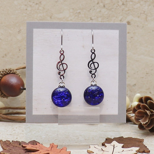 Royal Blue Dichroic Dot with Treble Clef