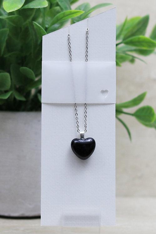 Black Glass Heart Pendant