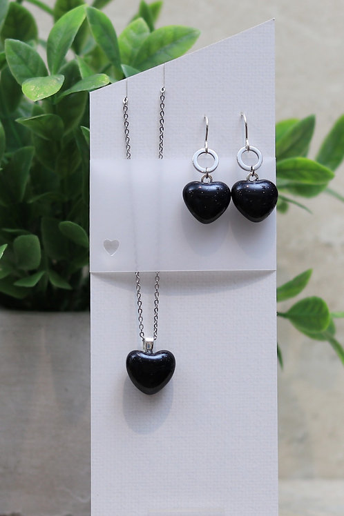 Dark Dark Blue Glass Heart Set