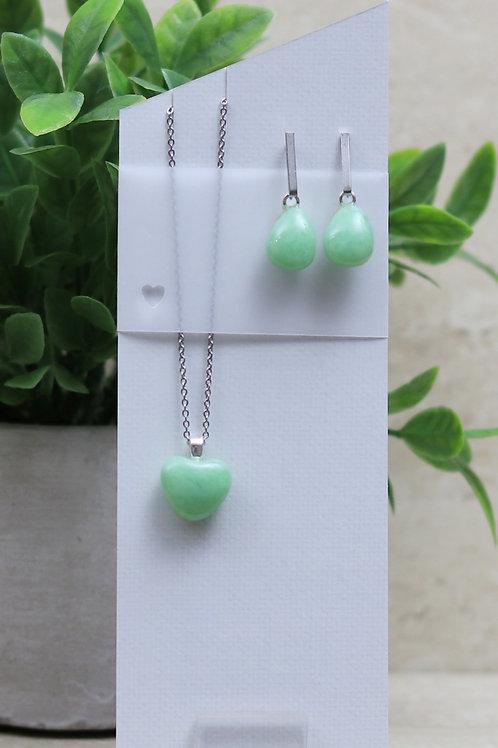Mint Green Glass Heart and Tear drop Set