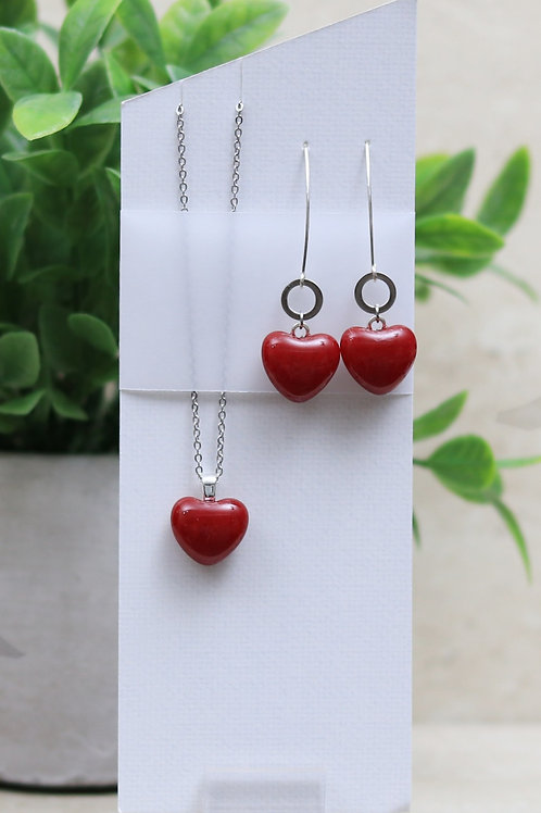 Red Glass Hearts Set
