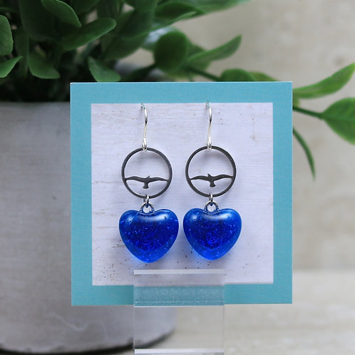 Topaz Blue Clear Glass Heart