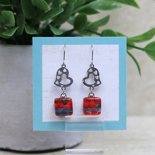 Red and Grey Glass with Heart