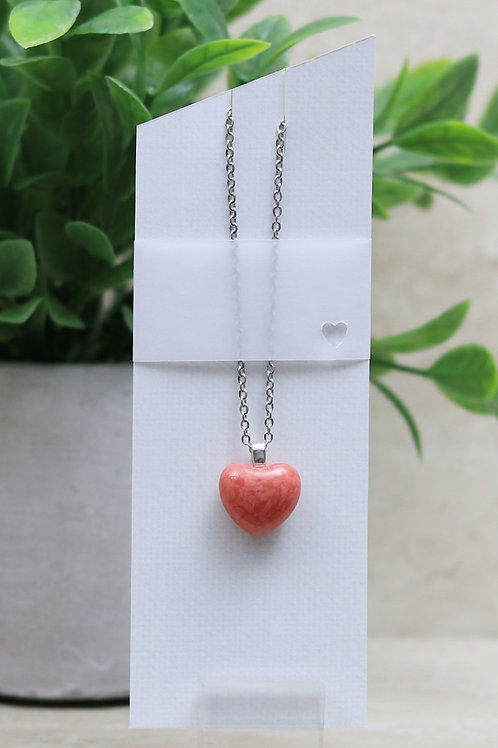 Salmon Glass Heart Pendant