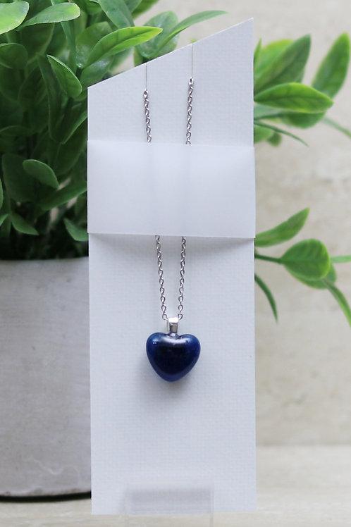 Dark Denim Blue Clear Glass Heart Pendant