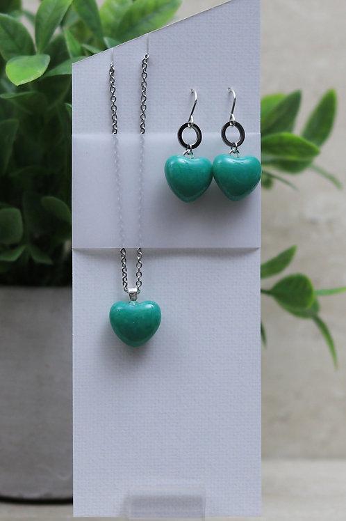 Jade Green Hearts Set