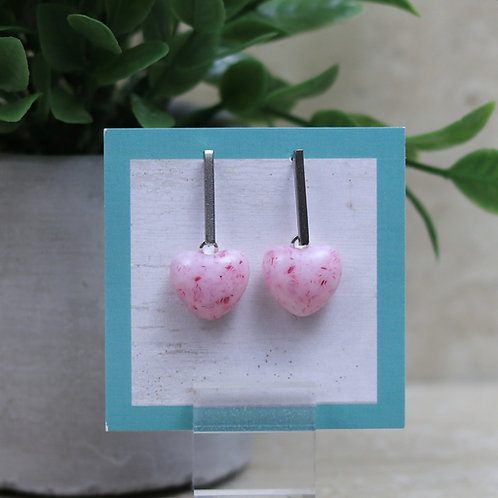Pink and Cranberry Glass Heart Post Earrings