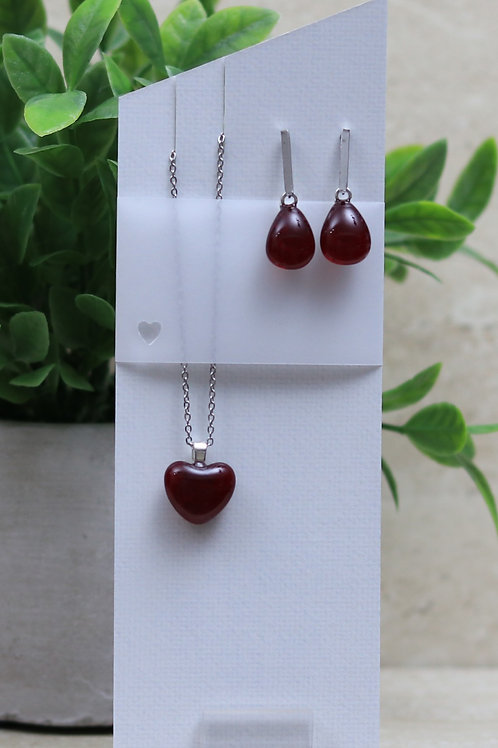 Cherry Red Clear Glass Heart and Tear drop Set