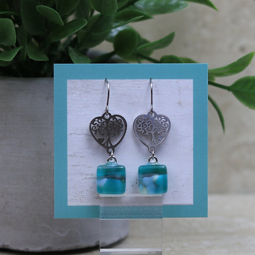 Green, Blue and Gray Glass with Tree Of Life Heart