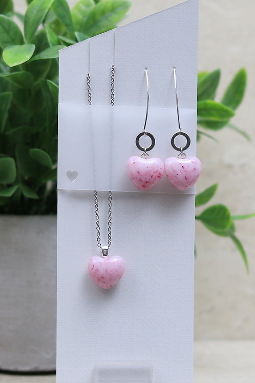 Pink and Cranberry Glass Heart Set