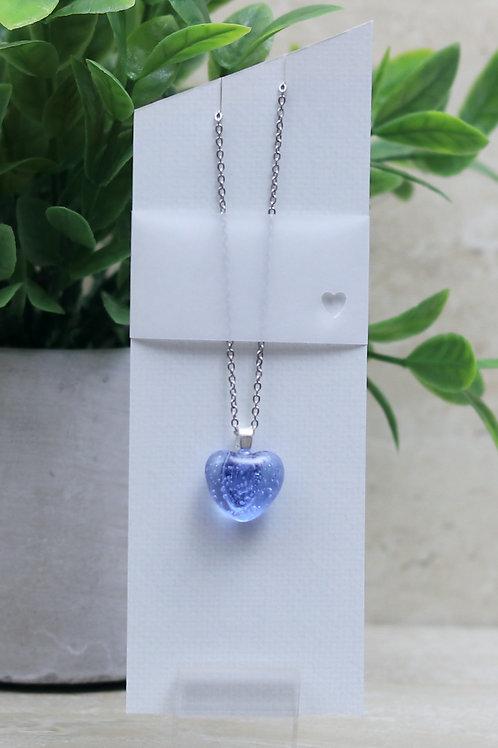 Blue/Purple Clear Glass Heart Necklace
