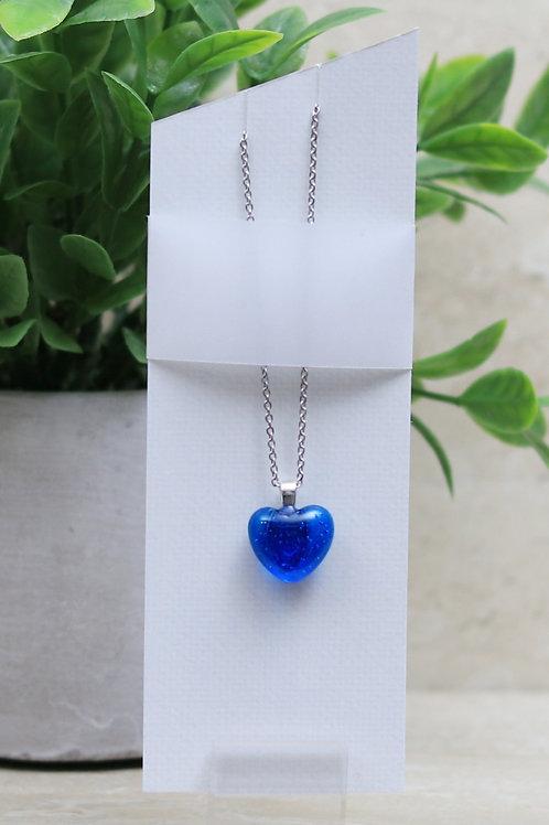 Blue Topaz Clear Glass Heart Pendant
