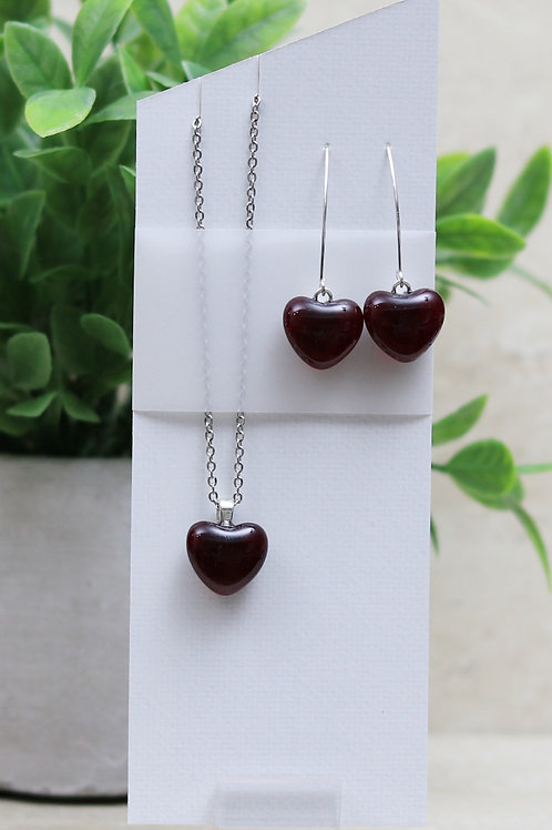 Dark Cranberry Clear Glass Hearts Set