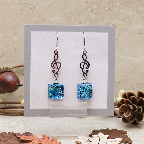 Aqua Blue Dichroic Dot with Treble Clef