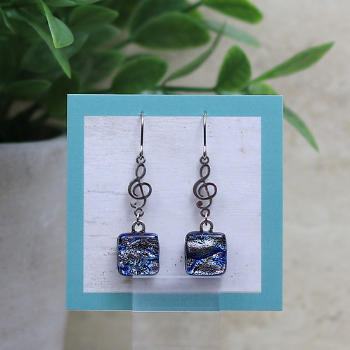 Silver and Blue Dichroic with Treble Clef