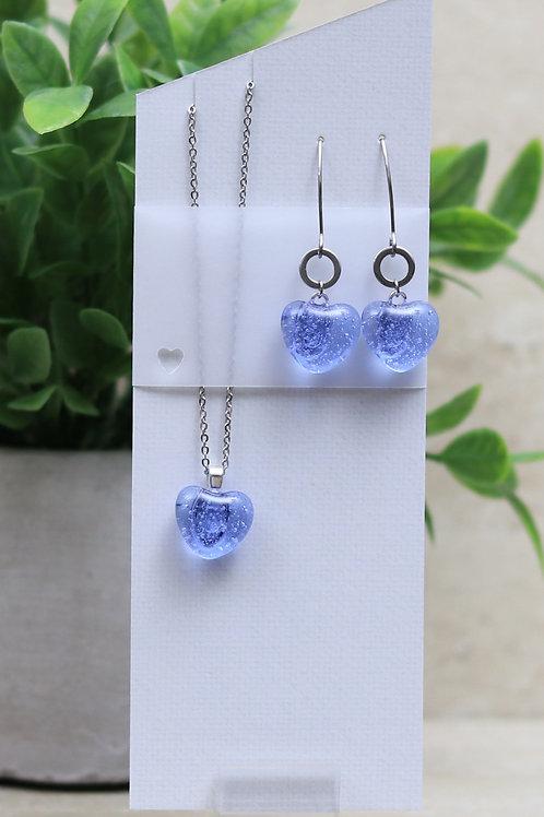 Light Blue/Purple Clear Glass Heart Set