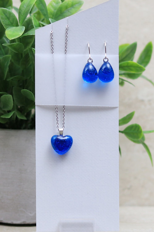 Aqua Blue Clear Glass Heart and Tear Drop Set