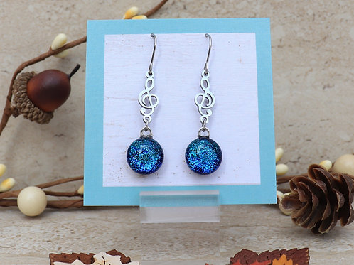 Blue Dichroic Dot with Treble Clef