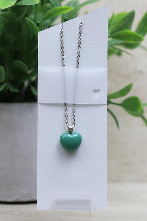 Jade Green Glass Heart Pendant