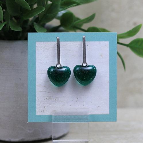 Emerald Green Clear Glass Heart Post Earrings