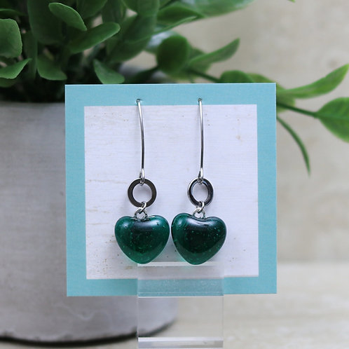 Emerald Green Clear Glass Heart