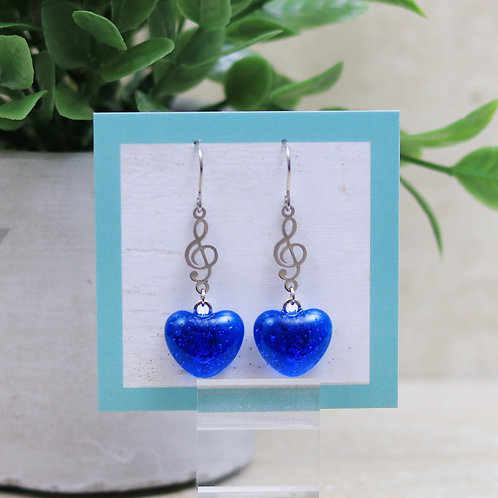 Topaz Blue Clear Glass Heart with Musical Note