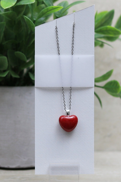 Red Glass Heart Pendant