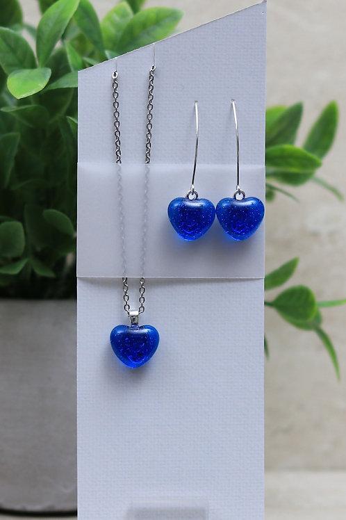 Blue Topaz Clear Glass Hearts Set