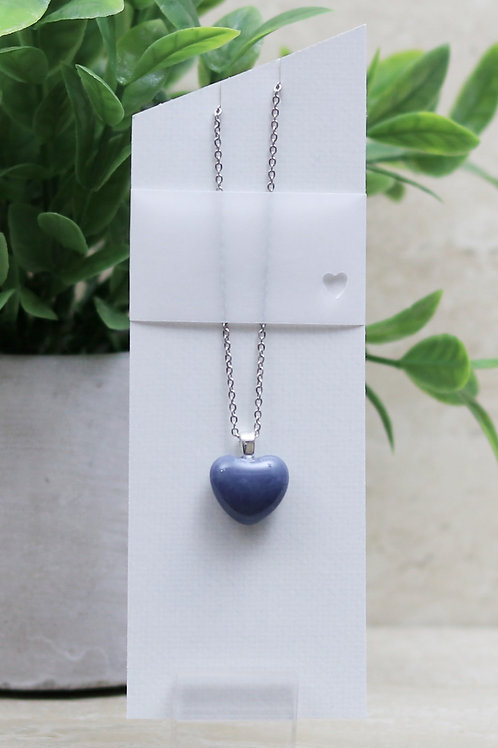 Blue/Gray Glass Heart Necklace