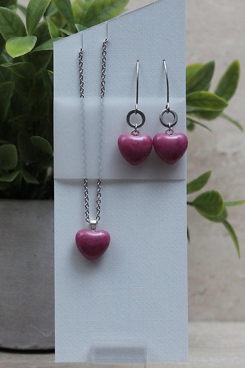 Pink Glass Heart Set