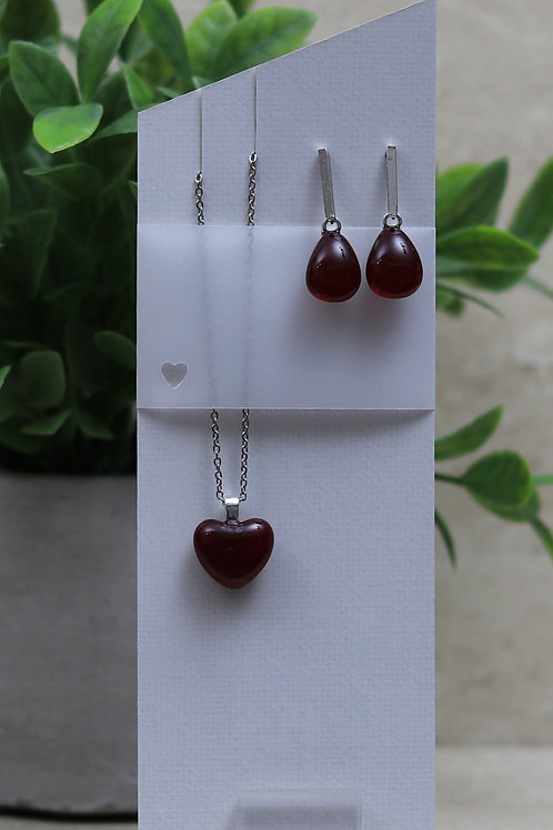 Cranberry Red Clear Glass Heart and Tear drop Set