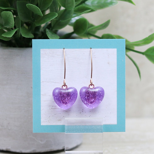 Lavendar Clear Glass Heart