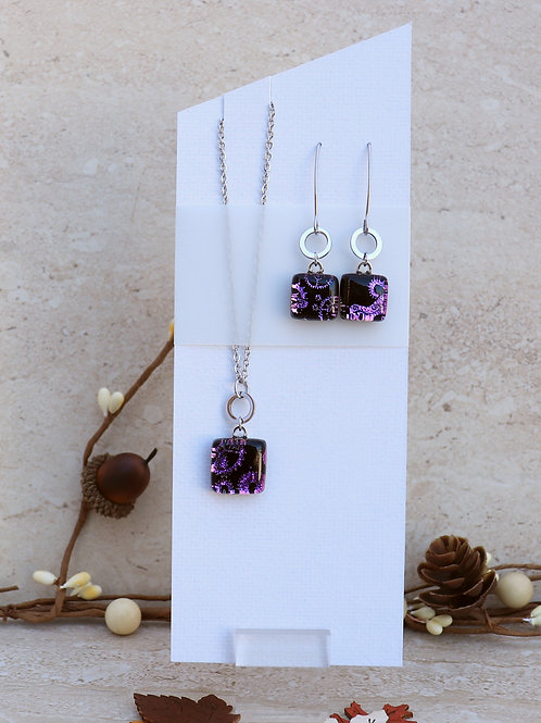 Black and Purple with Gear Pattern Dichroic