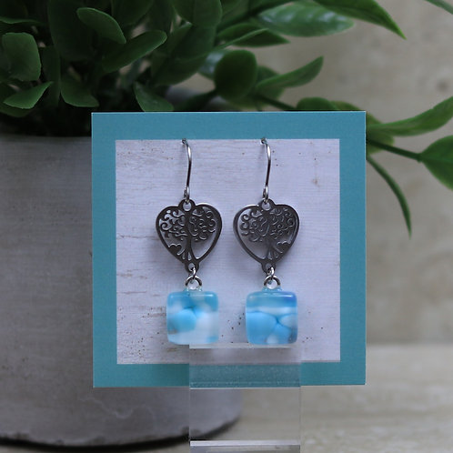 Light Blues and White Glass with Tree Of Life Heart