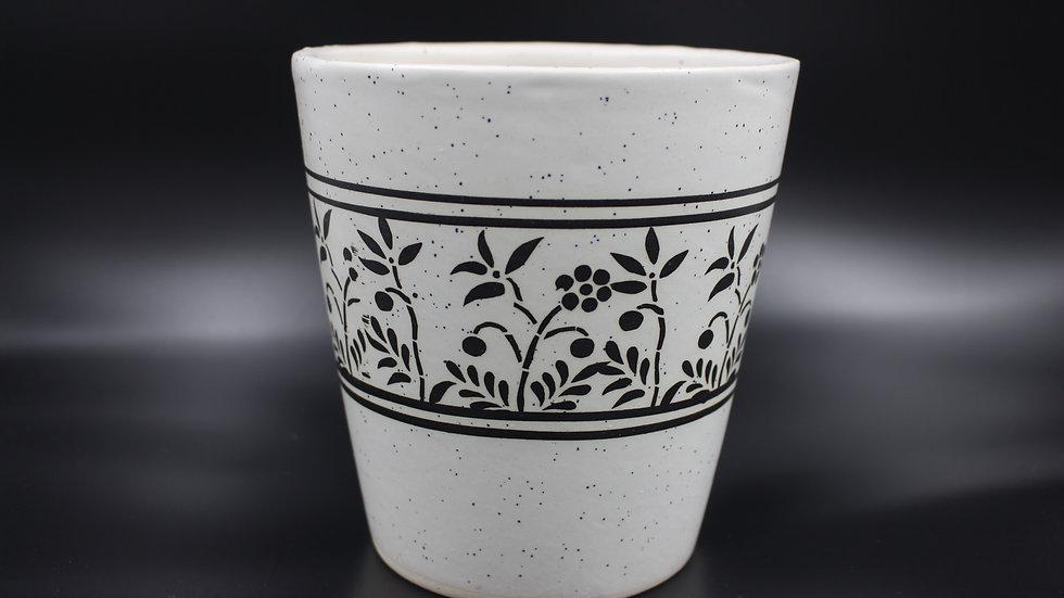 White Planter (Black Design)