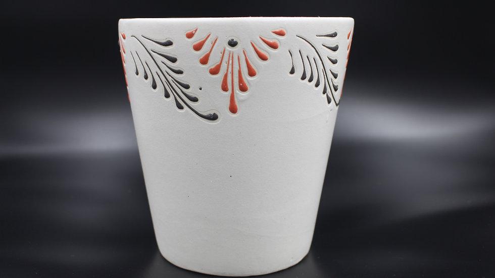 White Planter (Red & Black Filigree)