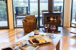 Interior wine and cheese