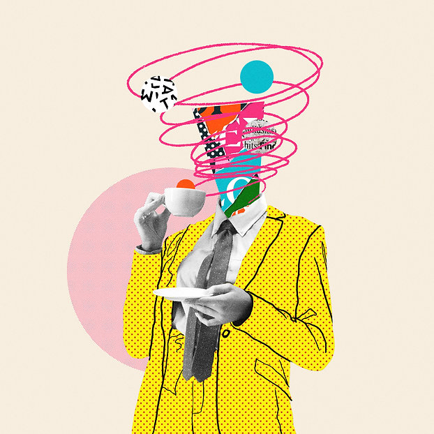 Morning coffee makes things better. Comics styled yellow suit. Modern design, contemporary