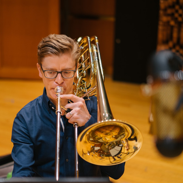 Nate Mayland recording with The Filmharmonic Brass.