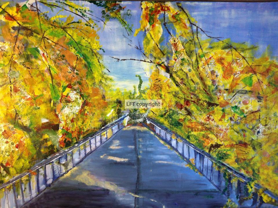 Blue Bridge In Autumn