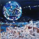 Blue Moon Over Santorini