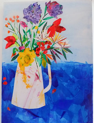 Jug Of Spring Flowers created in collage with acrylic. Original painting has now sold, but Limited Edition Prints available.