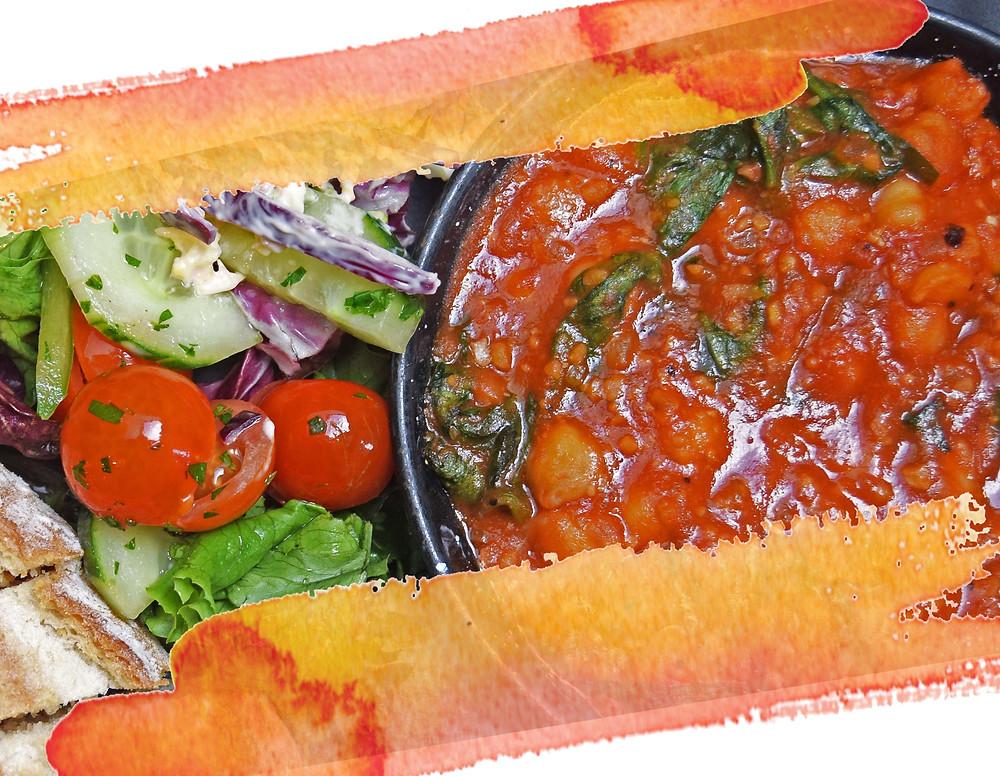 chickpea paella. vegetarian dish