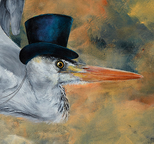 Heron In A Hat, Signed Giclée Print