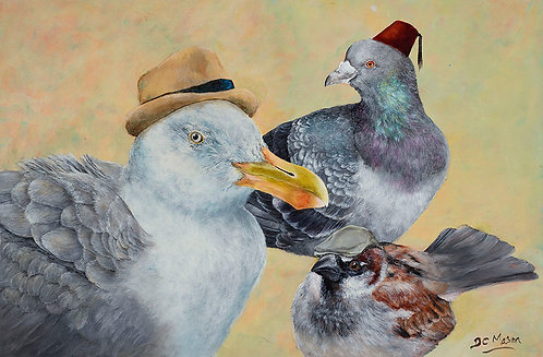Birds In A Hat, Signed Giclée Print