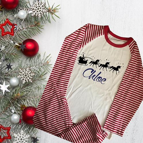 Unicorn Red Stripe Pyjamas - kids