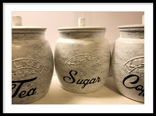 Marbled White and Silver Tea, Coffee and Sugar Caddies