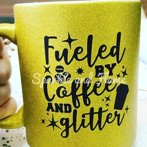Fueled by Coffee Glitter Mug