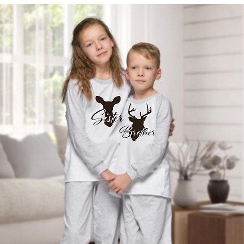 Grey Christmas  Family Pyjamas - kids