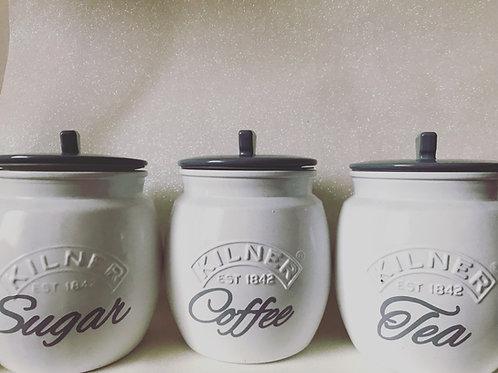 White and Grey Tea, Coffe and Sugar Set